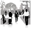 Outdoor recreation.Vector illustration.People in the park