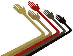 Hands reaching out vector.