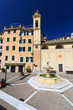 Sori, square with fountain, Liguria, Italy