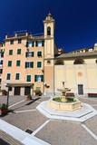 Sori, square with fountain, Liguria, Italy