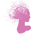Female head silhouette with floral hairstyle on white background