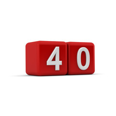 Red 3D block with number fourty