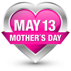 """Heartbutton Banner """"May 13 Mother´s Day"""" Pink"""
