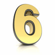The number six as a shiny metal object over white