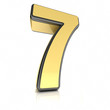The number seven as a shiny metal object over white