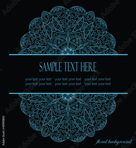 original card with lacy ornament on a black background