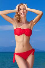Beautiful woman in red bikini