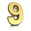 The number nine as a shiny metal object over white