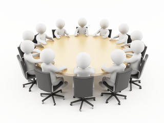 3D people sitting in a business meeting