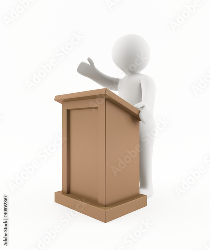 3D man giving a speech
