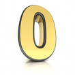 The number zero as a shiny metal object over white