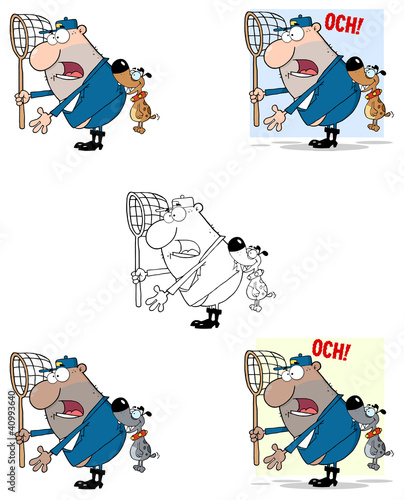 Angry Dog Biting A Dog Catcher
