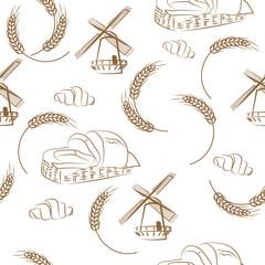 seamless pattern of grain mill, wheat