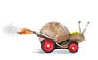 Leinwanddruck Bild - Speedy snail like car racer. Concept of speed and success