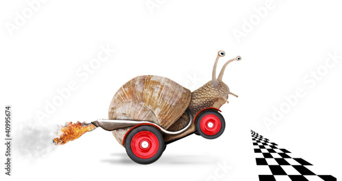 Speedy snail like car racer. Concept of speed and success - 40995674