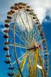 Funfair park on blue sky background