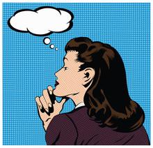 Vecteur: Illustration d'une femme pensée