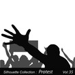vector silhouettes of protesters