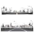 Vector illustration.Highway silhouette .City skyline
