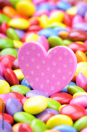 Fridge magnet Pink heart and colorful chocolate smarties
