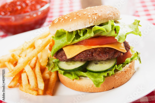 Classic hamburger with french fries