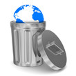 globe into garbage basket on white background. Isolated 3D image