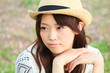 The young lady in Nature / Straw hat / Smile
