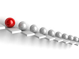 leadership concept with red and white spheres on ladder steps