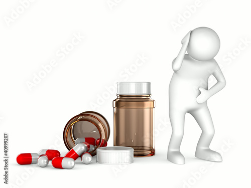 patient on white background. Isolated 3D image