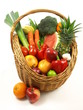 Fruits and vegetables on isolated background