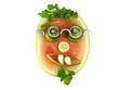 Healthy face with glasses, isolated