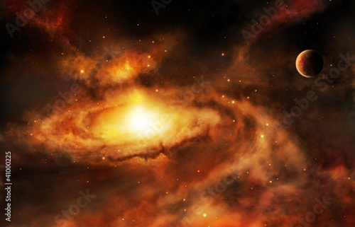 Galaxy core nebula in deep space