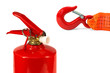 The emergency cord and fire extinguisher
