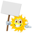Sun character holding a sign board