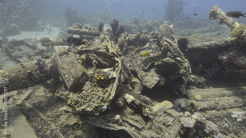 High angle view of Wreckage from a shipwreck