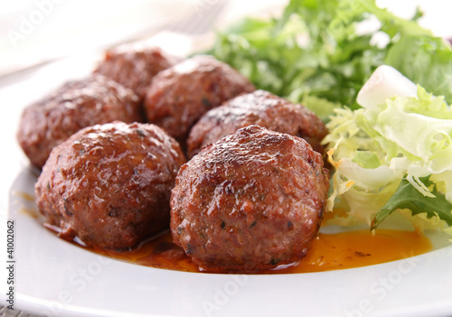 roasted meatballs and vegetable