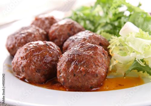 roasted meatballs and vegetable