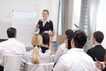 business woman giving presentation