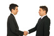 Happy business men gives handshake