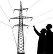 two wokers near pylon illustration