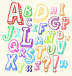 Hand drawn abc letters in doodle style
