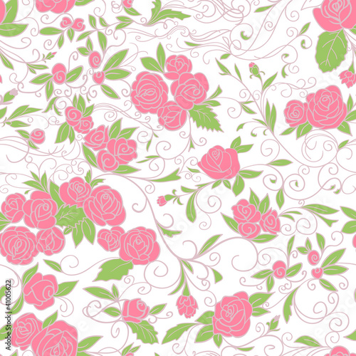 Floral background. Roses. Seamless pattern.