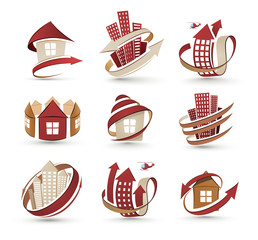 A collection of icons of buildings. Vector illustration