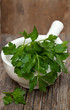 parsley in white mortar