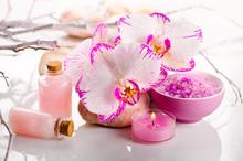 Spa encore la vie avec des fleurs d'orchidée rose