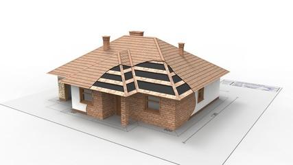 trójwymiarowy model domu w budowie