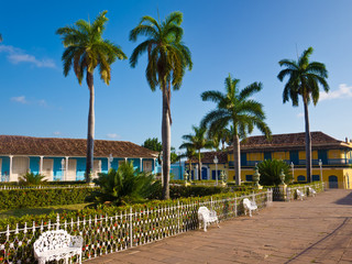 Central square in the touristic town of Trinidad in Cuba