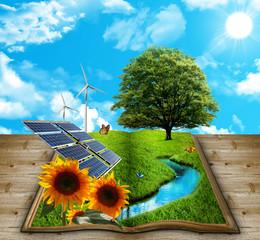Libro natura con energia rinnovabile