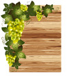 White grapes on a wooden background