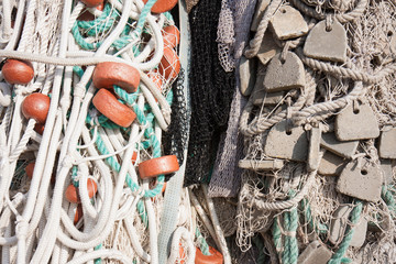 Pile of fishing net with floats
